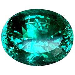 38.54 ct. Blue Green Tourmaline, GIA, Loose Pendant, Enhancer, Collector Gem