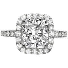 3.86 Carat Cushion Cut Diamond Engagement Ring on Platinum