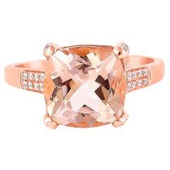 3.86 Carat Morganite and Diamond Ring in 18 Karat Rose Gold