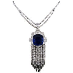 38.60 Carat Certified Sapphire and Diamond Platinum Necklace