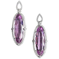 38.60 Carat Kunzite and Diamond Earrings