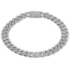 3.86ct Diamond Micro Pave Iced Out Round Cuban Link 14K White Gold 27.76gm B