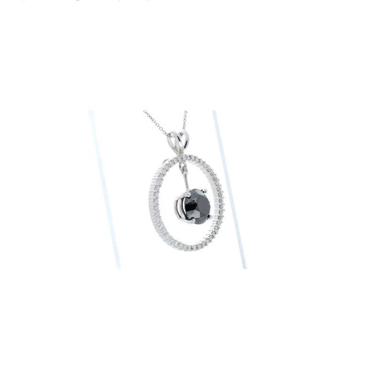 Round Cut 3.87 Carat Black Diamond Circle Pendant in 14 Karat White Gold For Sale