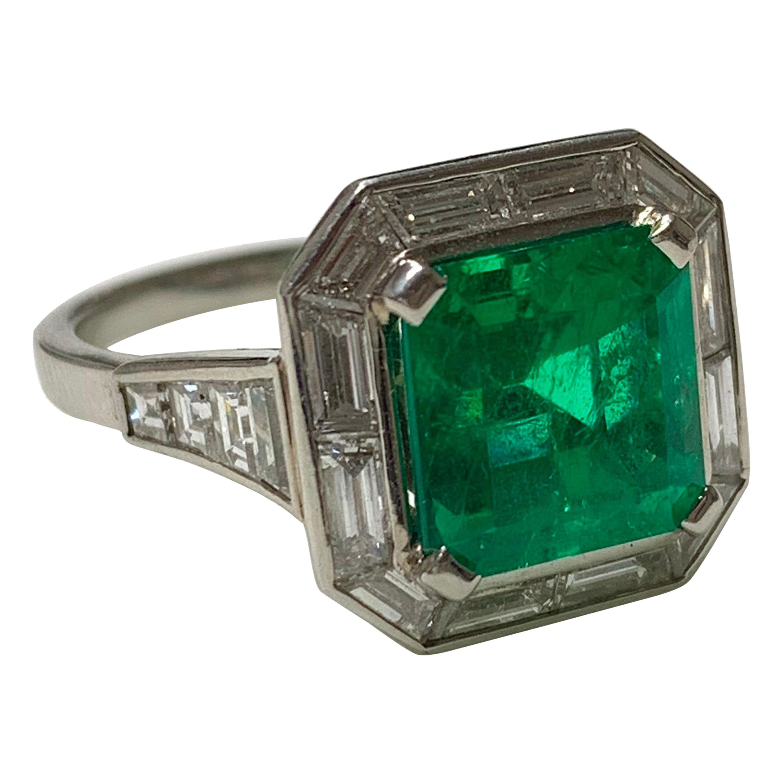 3.87 Carat Columbian Emerald and Diamond Ring in Platinum