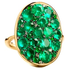 3.87 Carat Columbian Emerald, Diamond and Jadeite Pave Ring