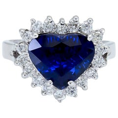 3.87 Carat Heart Shape Blue Sapphire and Diamond Halo Engagement Ring