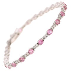 3.87 Carat Natural Tourmaline Diamond 14 Karat White Gold Bracelet