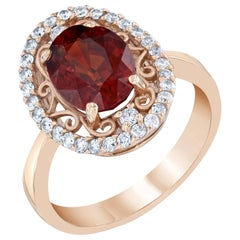 3.87 Carat Spessartine Garnet Diamond 14 Karat Rose Gold Cocktail Ring
