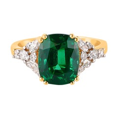 3.87 Carat Zambian Emerald Ring in 18 Karat Yellow Gold with White Diamonds