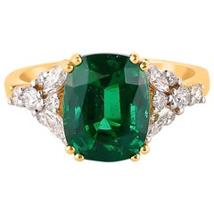 3.87 Carat Zambian Emerald & White Diamond Ring in 18 Karat Yellow Gold