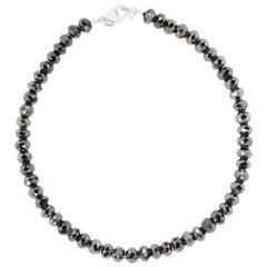 38.70 Carat Black Diamond Beaded Unisex Bracelet