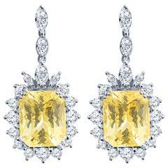 38.71ctw Octagonal Yellow Sapphire from Sri Lanka and 5.72ctw Diamond Earrings