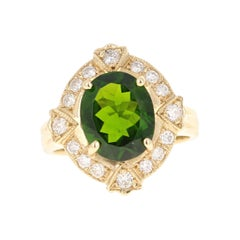 3.88 Carat Chrome Diopside Diamond 14 Karat Yellow Gold Ring
