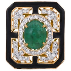 3.88 Carat Emerald Diamonds Black Enamel 18 Karat Yellow Gold Cocktail Ring