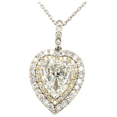3.88 Carat Heart Shape Diamond Pendant 18 Karat Gold