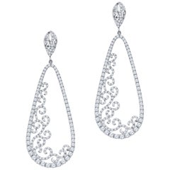 3.88 Carat of Round Brilliant Diamond Drop Earrings in 18 Karat White Gold