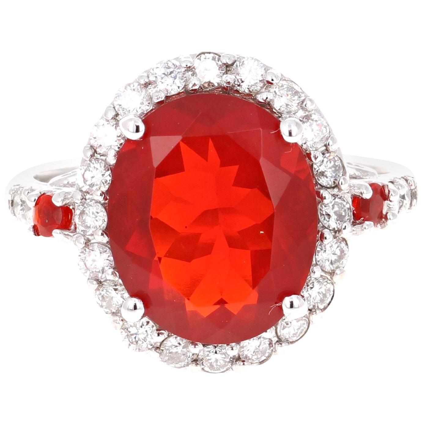 3.88 Carat Oval Cut Opal Diamond 14 Karat White Gold Bridal Ring
