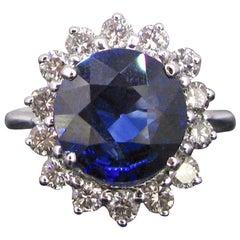 3.88 Carat Sapphire Diamond Cluster Ring, 18 Karat White Gold