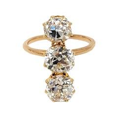 3.88 Carat Total Three-Stone Old Mine Cut Diamond Column Ring in 14 Karat Gold
