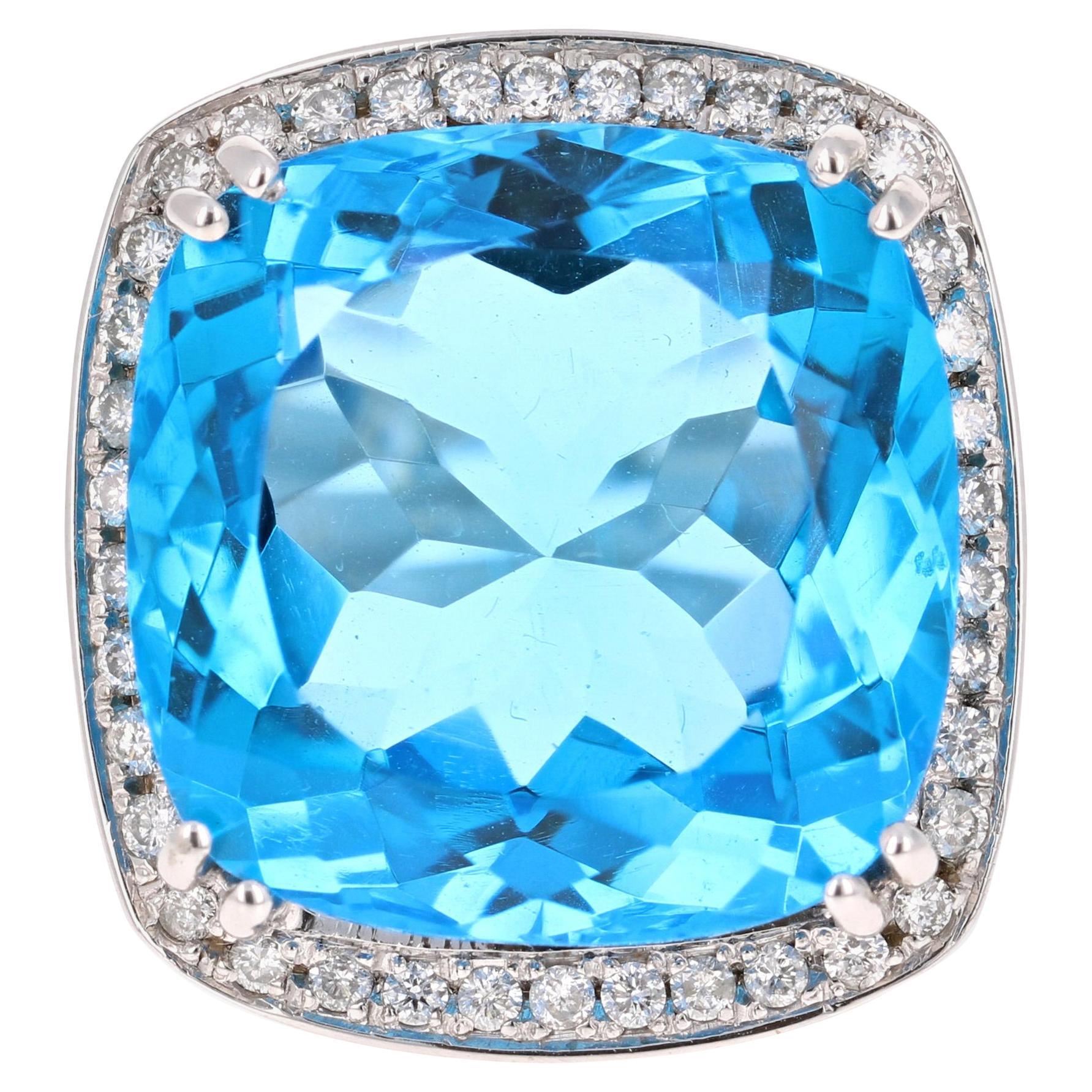 38.82 Carat Blue Topaz Diamond 14 Karat White Gold Cocktail Ring
