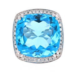 38.82 Carat Blue Topaz Diamond 14 Karat White Gold Cocktail Ring