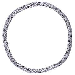 38.88 Carat Black & White Diamond 18 Kt. White Gold Flexible Necklace