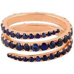 3.89 Carat Blue Sapphire 14 Karat Gold Coil Ring