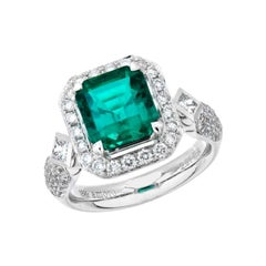 3.89 Carat Emerald Cut Colombian Emerald and Diamond Ring in 18 Karat White Gold