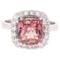 3,89 Karat Rosa Turmalin Diamant 14 Karat Weißgold Ring