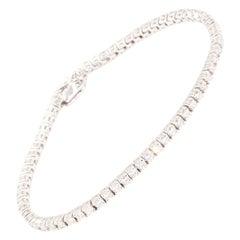 3.89 Carat Round Brilliant Cut Diamond Tennis Bracelet in 18 Carat White Gold