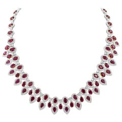 38.92 Carat Ruby and Diamond Halo Necklace