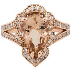 3.8 Carat Pear Shape Morganite Scalloped Diamond Halo 14 Karat in Stock