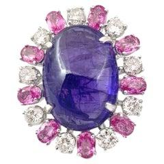 38 Carat Tanzantie and Pink Sapphire Ring, 18 Karat WH