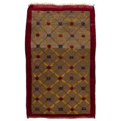Fantastic Camel Wool Anatolian Karapinar Rug with Lattice Design