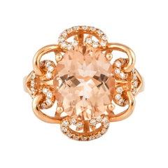 3.9 Carat Morganite and Diamond Ring in 18 Karat Rose Gold
