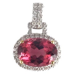 3.9 Carat Oval Cut Raspberry Tourmaline and Diamond Pendant in White/Yellow Gold