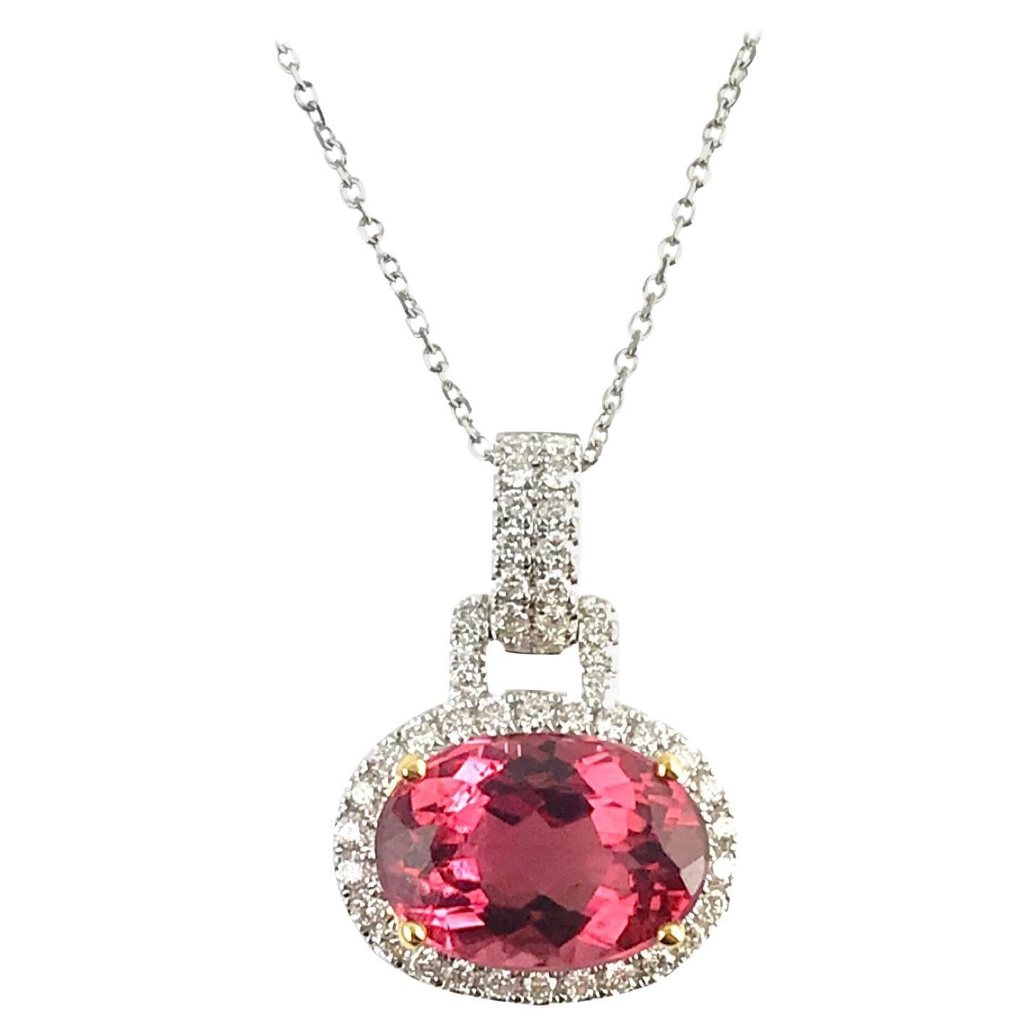 DiamondTown 3.9 Carat Oval Cut Raspberry Tourmaline and Diamond Pendant