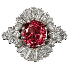 3.9 Carat Red Spinel E-F Diamond Ring Cocktail Estate Ring