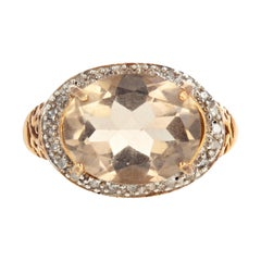 3.9 Carat Smoky Quartz and Diamond Gold Ring