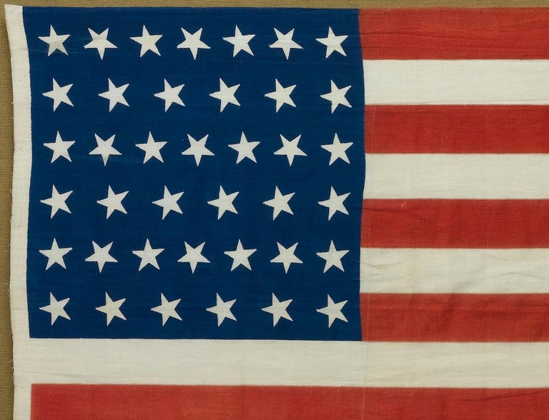 Late 19th Century 39-Star Antique American Flag with 'Whimsical' Star Pattern, 1889 For Sale