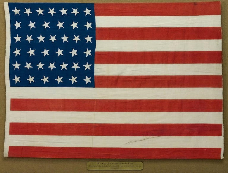 Cotton 39-Star Antique American Flag with 'Whimsical' Star Pattern, 1889 For Sale