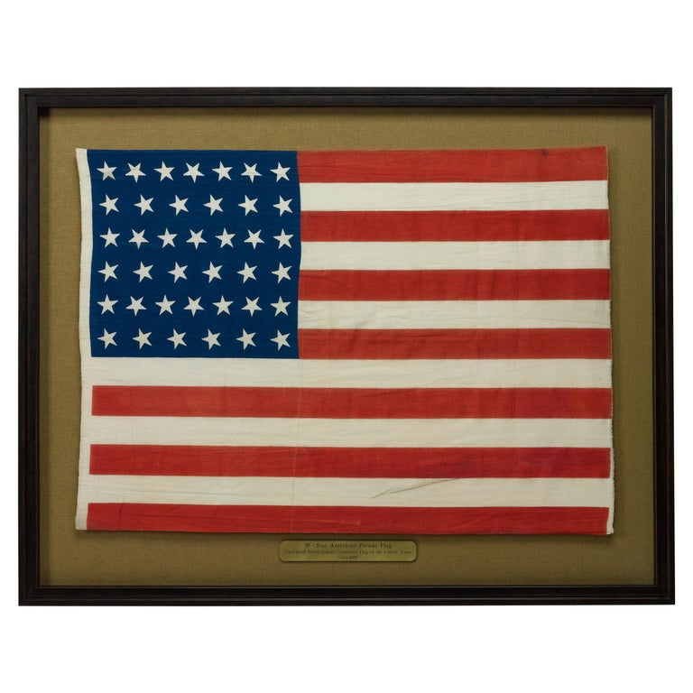 39-Star Antique American Flag with 'Whimsical' Star Pattern, 1889 For Sale