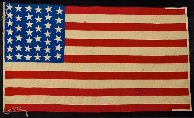 39-Star American Flag, Hand-cut and Sewn, Antique
