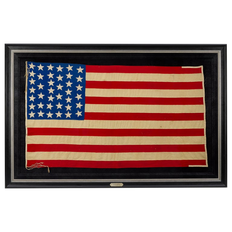 "39-Star American Flag, Hand-cut and Sewn, Antique ""Unofficial"" Flag, circa 1889 For Sale"