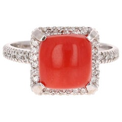 3.90 Carat Coral Diamond 14 Karat White Gold Statement Ring