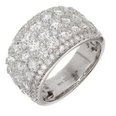 3.90 Carat Diamond Five-Row Gold Wedding Band Ring