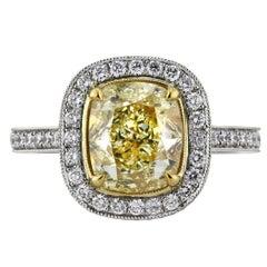 Mark Broumand 3.90 Carat Fancy Yellow Cushion Brilliant Diamond Engagement Ring