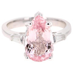 3.90 Carat Pear Cut Pink Morganite Diamond 14 Karat White Gold Engagement Ring