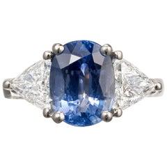 3.90 Carat Sapphire Diamond Platinum Three-Stone Engagement Ring