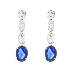 3.90 Carat Total Blue Sapphire and Diamond Drop Earring